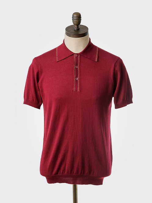 Art Gallery Knitted Polo Shirt in Wine