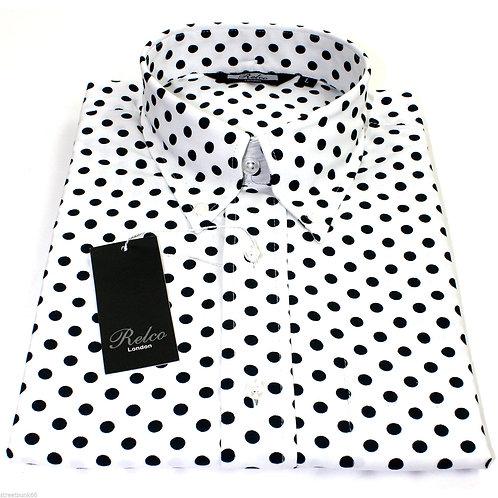 Relco London White/Navy Polka Dot Shirt