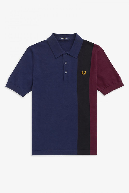 Fred Perry Side Panel Knitted Polo Shirt in Blue