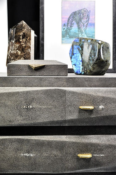 handcrafted shagreen box and quartz obelisk on a shagreen chest of drawers