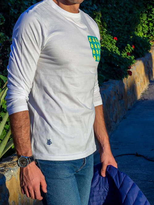 Camiseta blanca de hombre manga larga