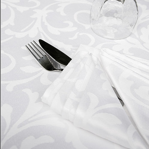 Scroll White Tablecloths by Revelle Home Fashions