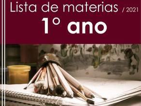 Lista dos materiais escolares - 2021 (1° ano)