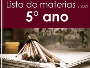 Lista dos materiais escolares - 2021 (5° ano)