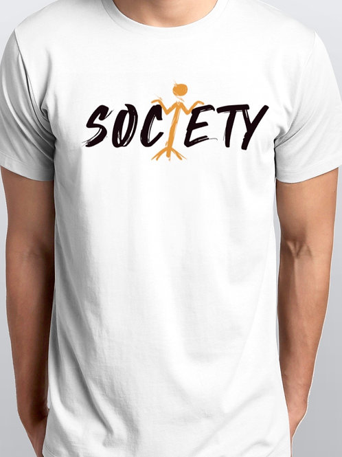 Men's White Society Men's Crew Neck T-shirt Short Sleeve
