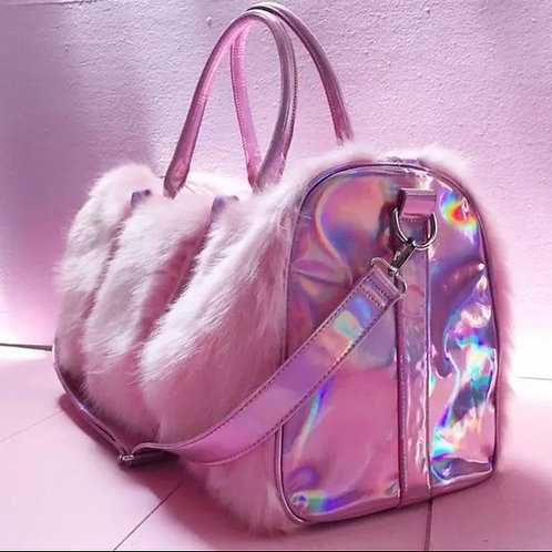 Holographic Plush Duffel Bag