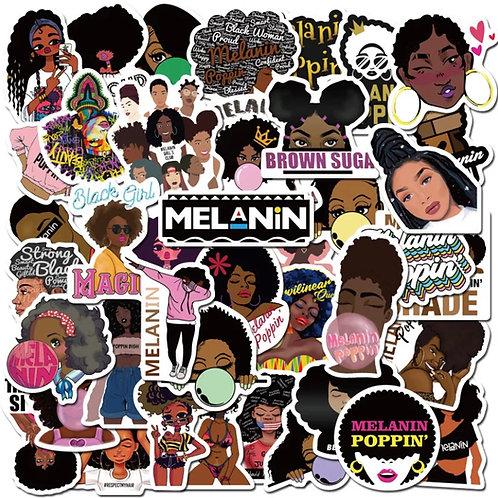 50 Melanin Poppin' Decals