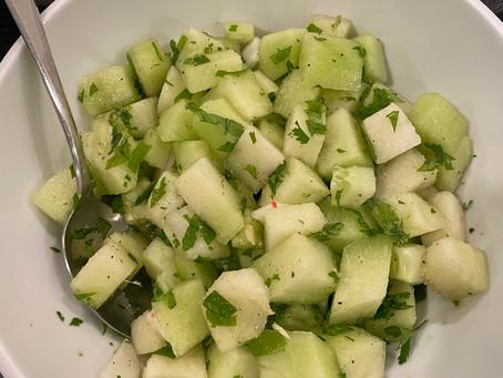 cucumber honeydew salad with ginger dressing