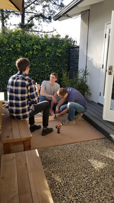 Building a corn hole set at the first annual See/Robb joint bbq! (1.21.18)