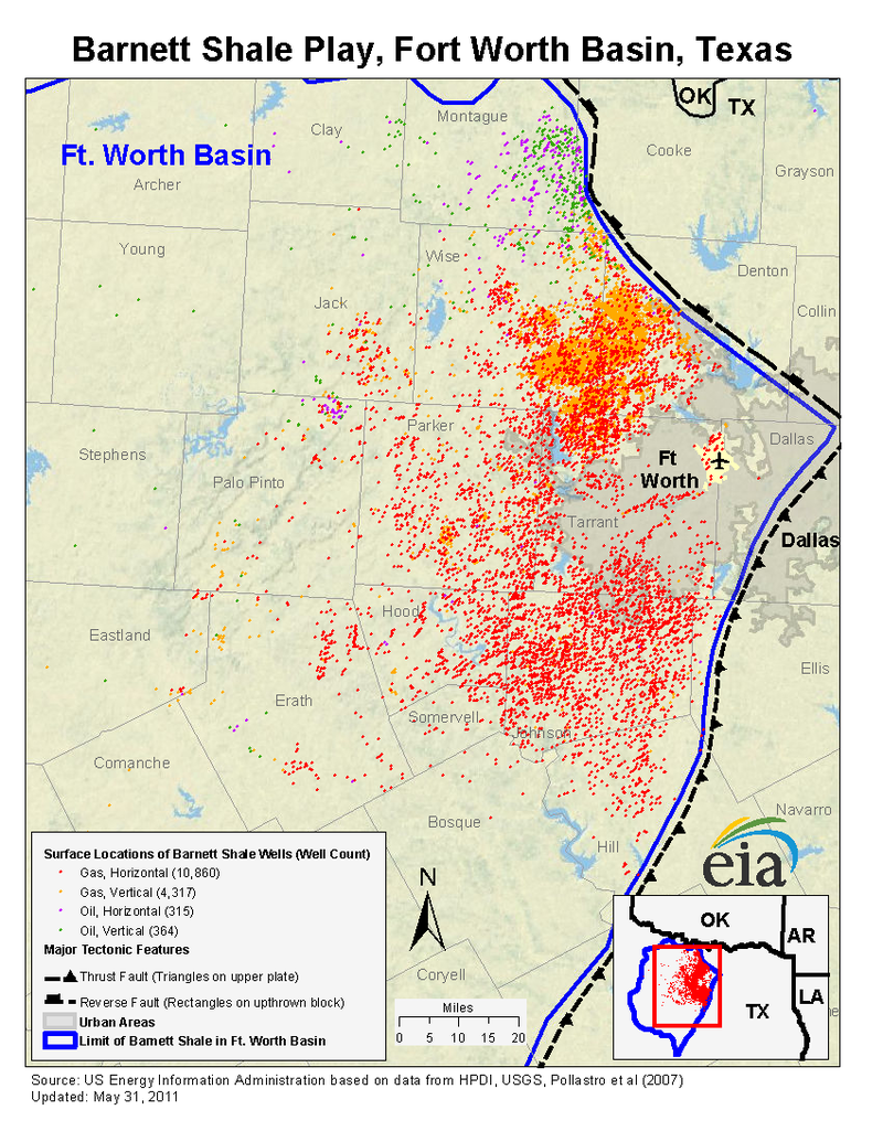 Barnett Shale map of Fort Worth