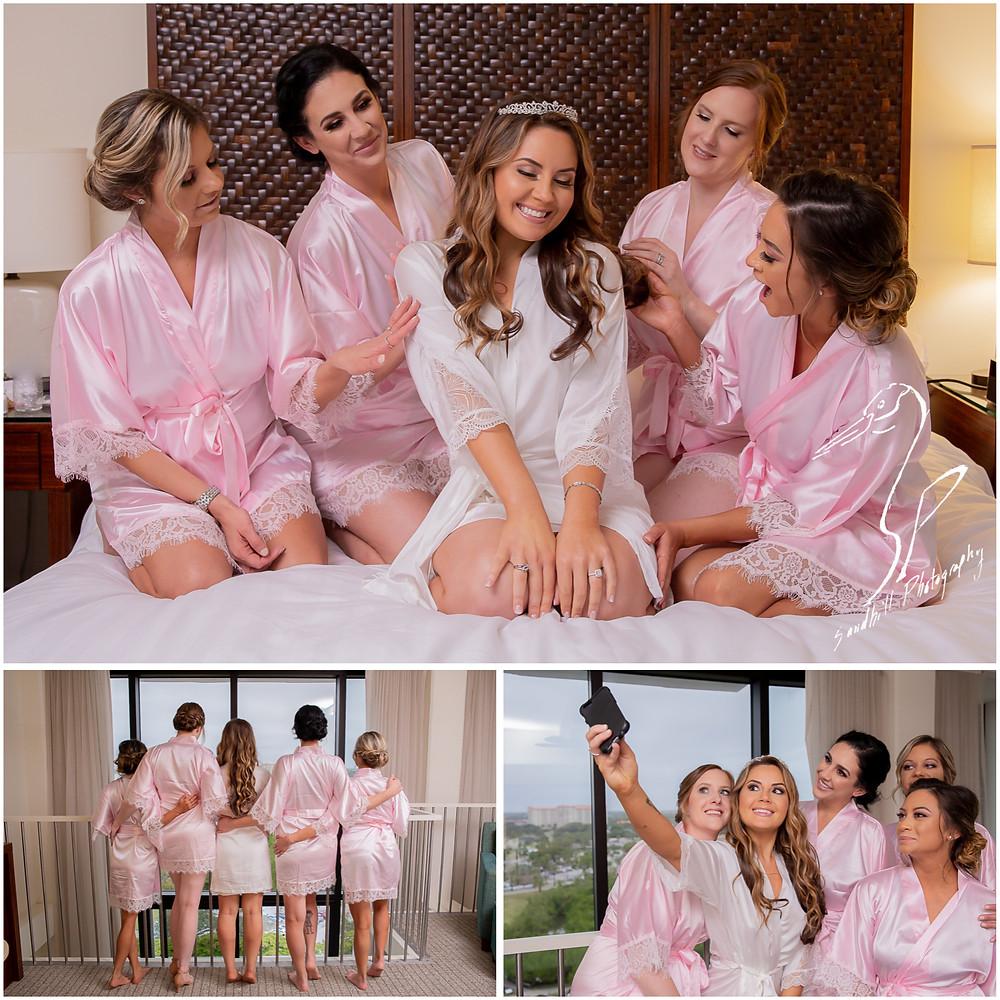 Sarasota Beach Wedding Photography, Bride and Bridesmaids in matching robes at Hyatt Regency Sarasota