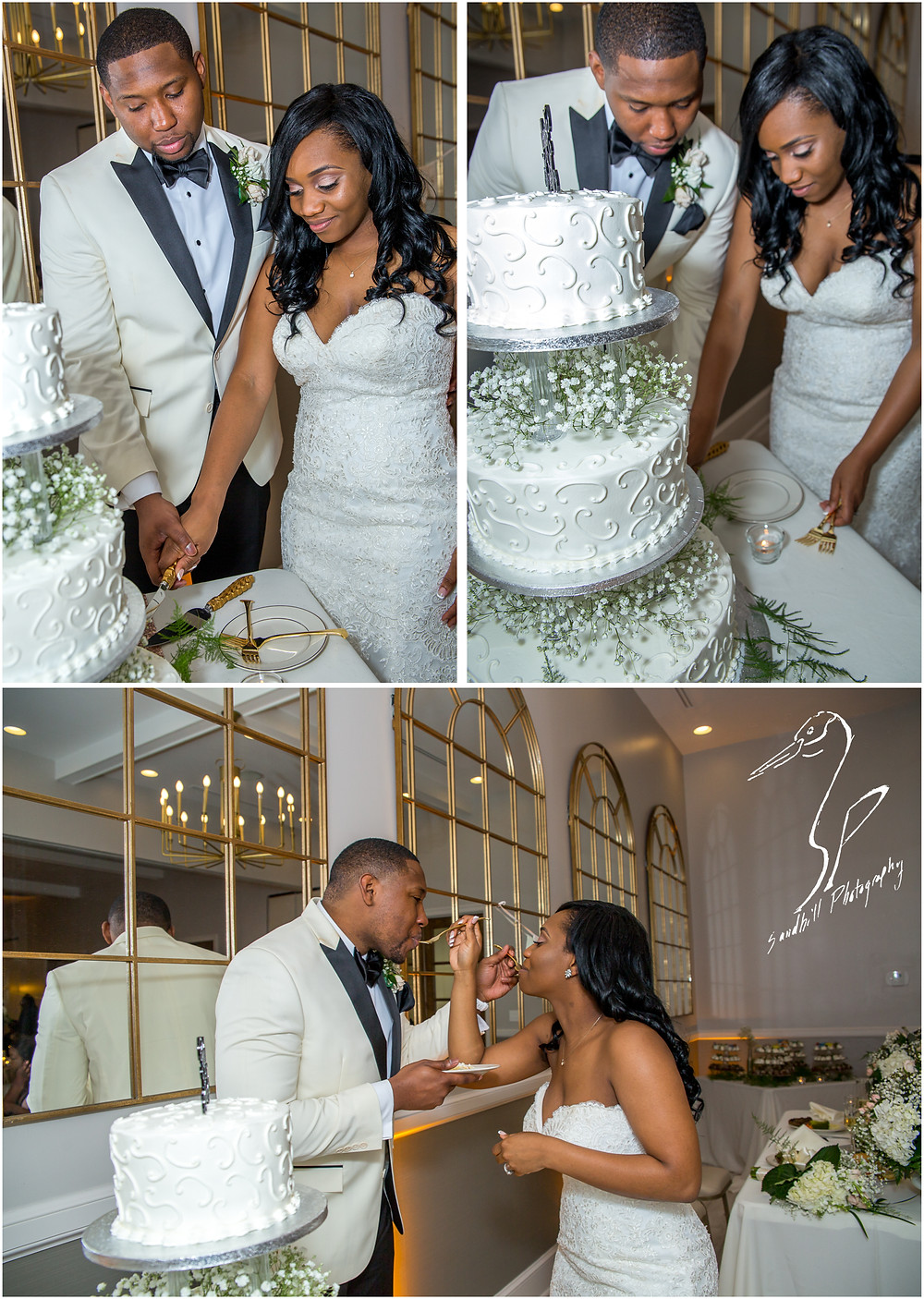 Bradenton Wedding Photographer, bride and groom cut the cake at their reception at the Mirabay Club