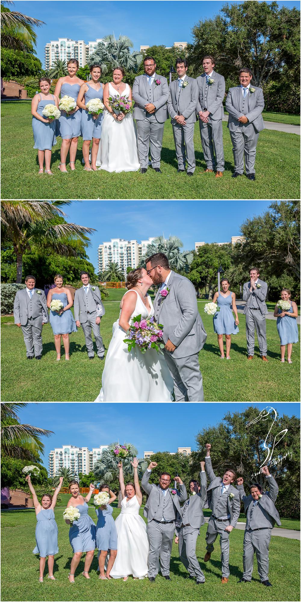 Van Wezel Wedding Photography, Wedding Party Pictures in front of Downtown Sarasota