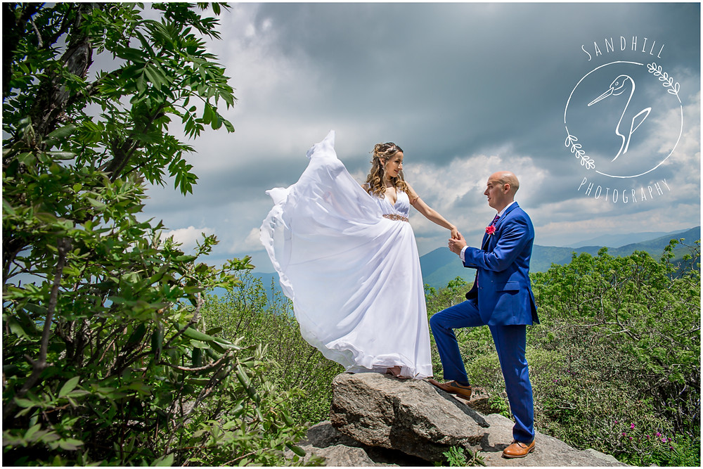 Destination Wedding Photographer, mountain top wedding, flowing bridal gown, image by Sandhill Photography, Bradenton FL
