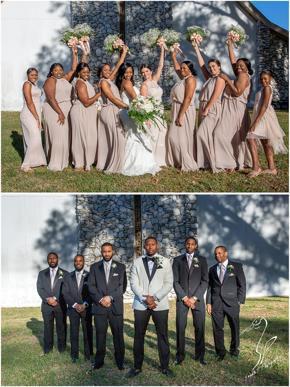 Bradenton Wedding Photographer, The bride with her bridesmaids and the groom with his groomsmen in front of United First Methodist Church of Seffner