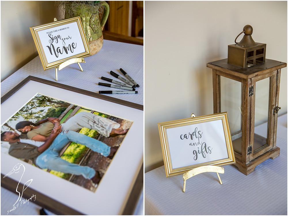 Bradenton Wedding Photographer, detail pictures of gift table and guest book picture frame at the wedding ceremony