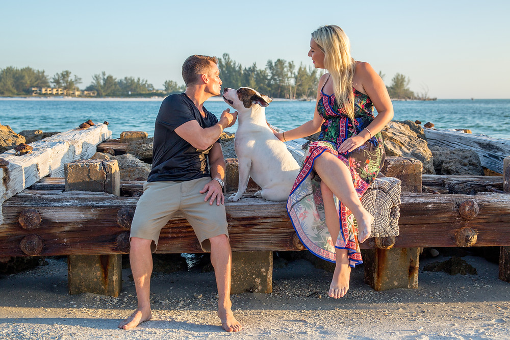 Coquina Beach Photography Romantic Beach Ocean Jetty Anna Maria Island Sunset Dog