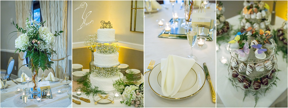 Bradenton Wedding Photographer, Reception details of cake, flowers, place settings, and deserts at the Mirabay Club