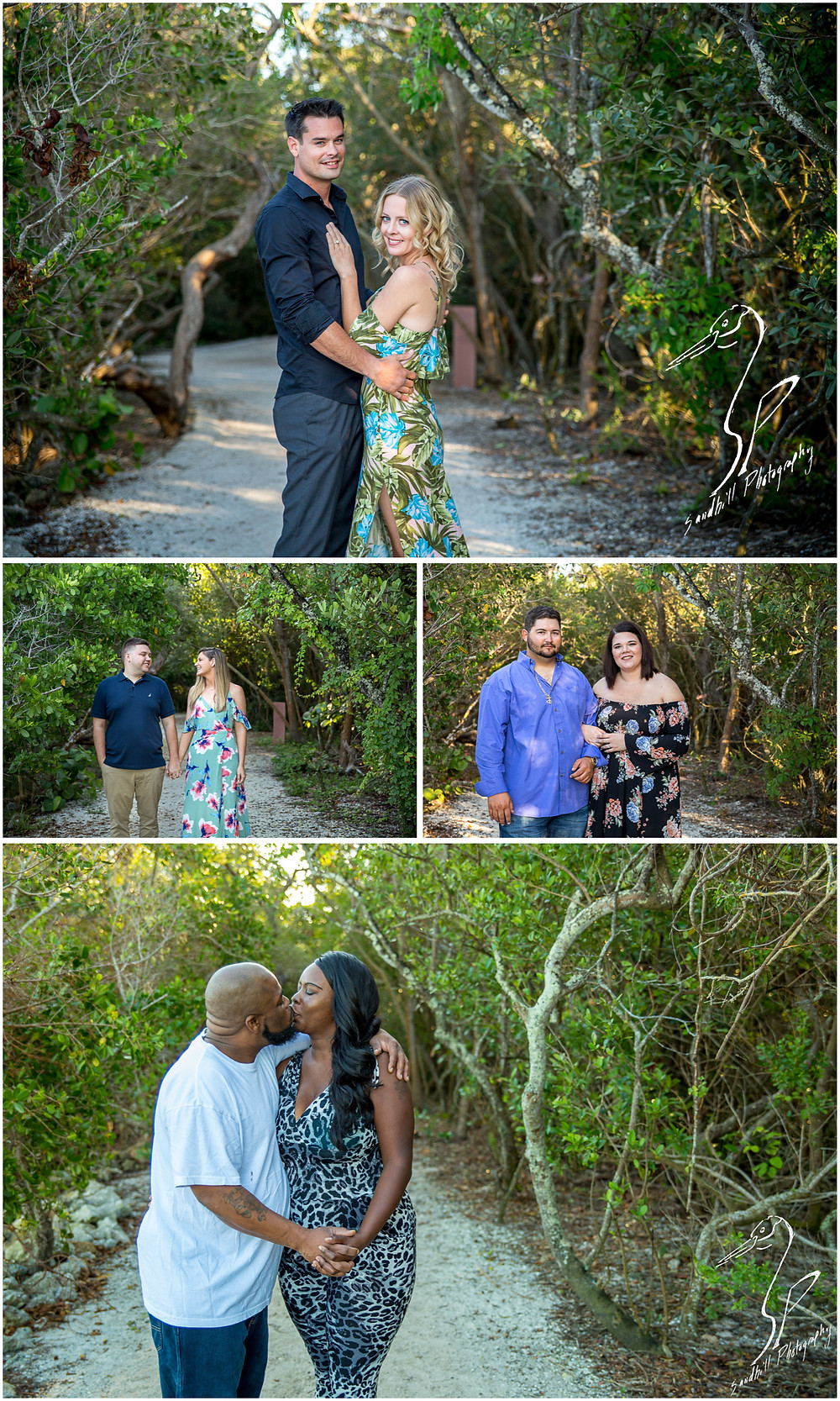 DeSoto National Memorial Photography, Romantic couples stand on a canopied path for their engagement pictures in Bradenton