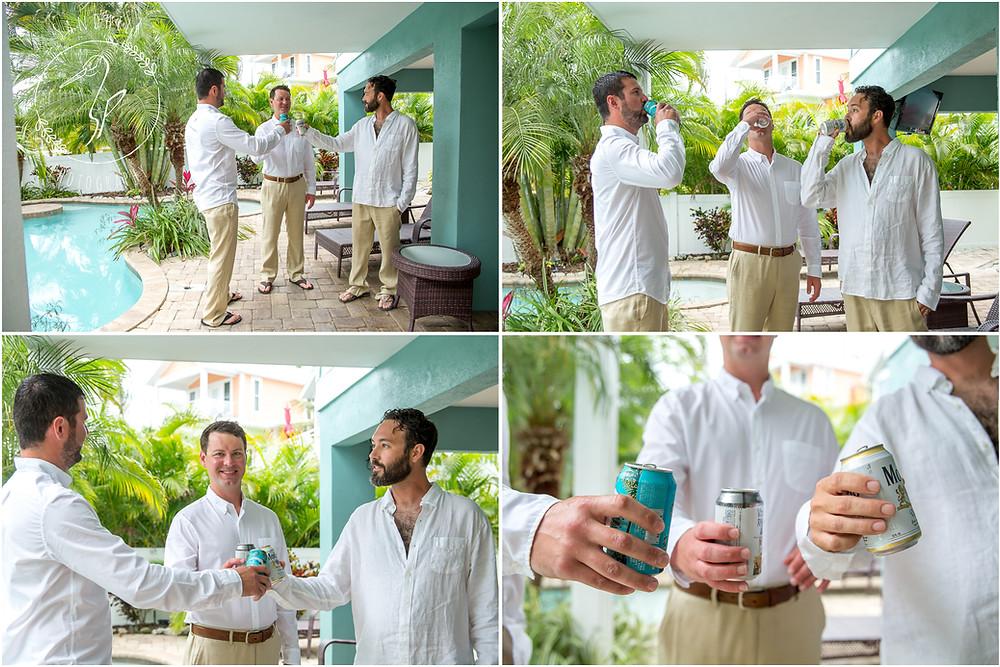 Anna Maria Island Wedding Photographer Groomsmen drinking beer