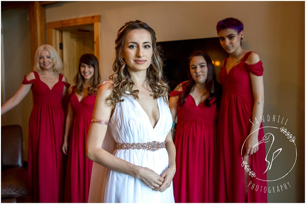 Destination Wedding Photographer, bride with bridesmaids, image by Sandhill Photography, Bradenton FL