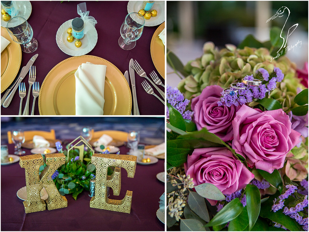 Van Wezel Wedding Photography, reception details of table settings, bridal bouquet, and rings, by Sandhilll Photography