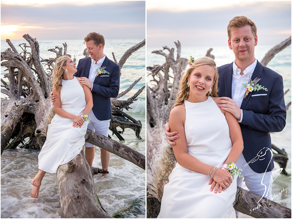 Anna Maria Island Wedding Photography, bride and groom sit on driftwood at Beer Can Island, Longboat Key