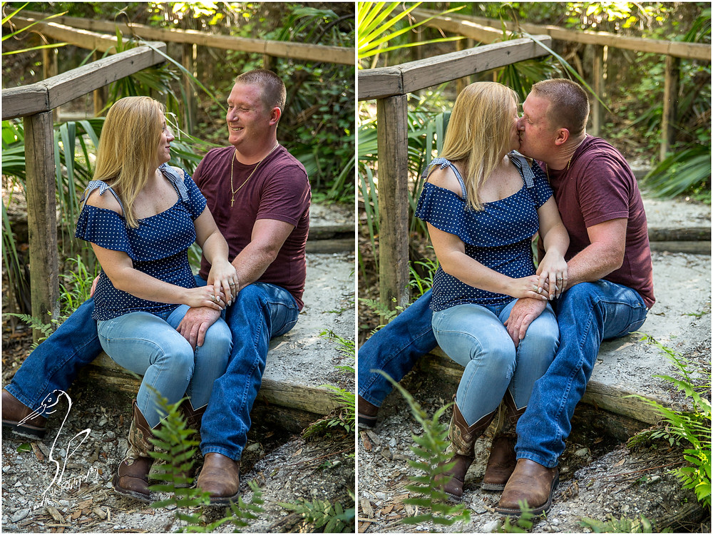 Rye Preserve Engagement Photography in Bradenton, couple sitting on stairs gazing at each other