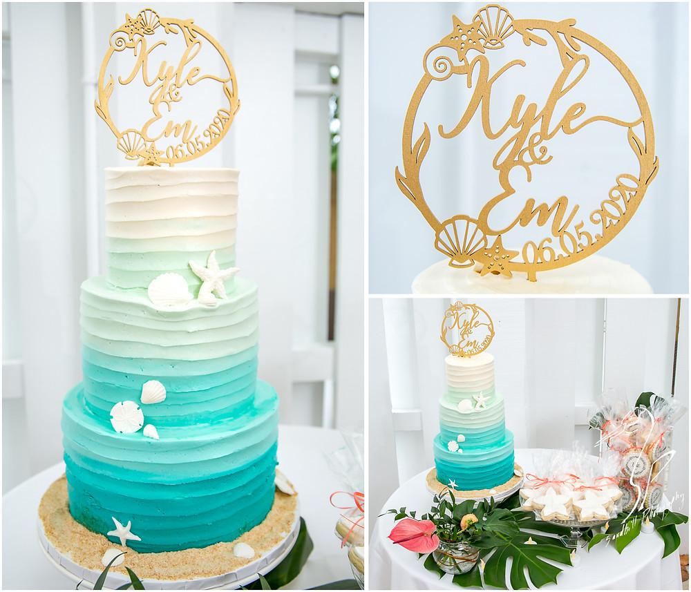 Anna Maria Island Wedding Photographer beach themed wedding cake by Cupcake Delights