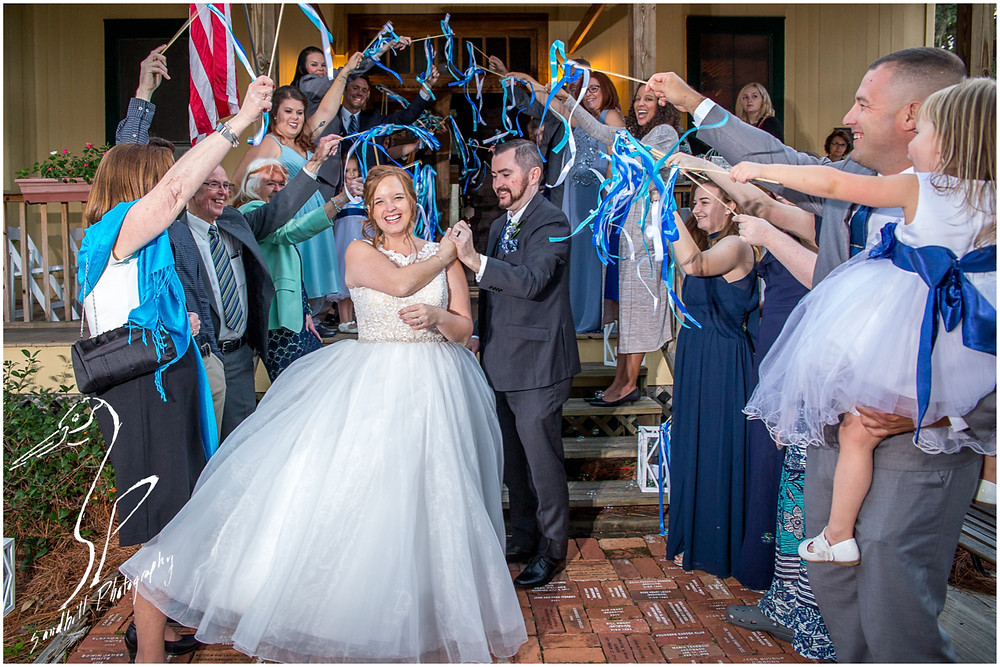Sarasota Wedding Photography Crocker Memorial Church ribbon exit after wedding with the bride spinning