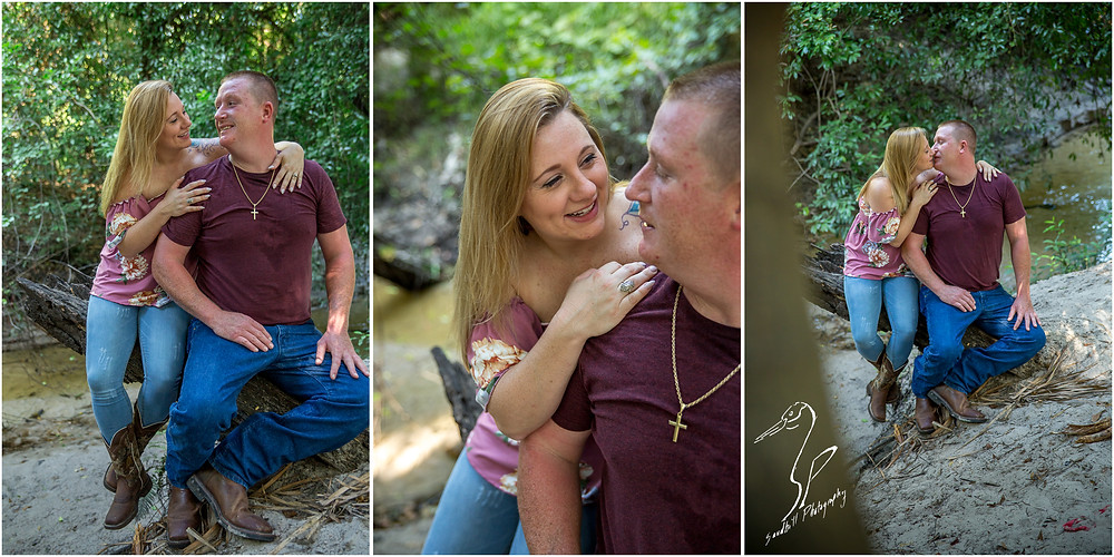 Rye Preserve Engagement Photography in Bradenton, Couple sitting on a log over a creek.