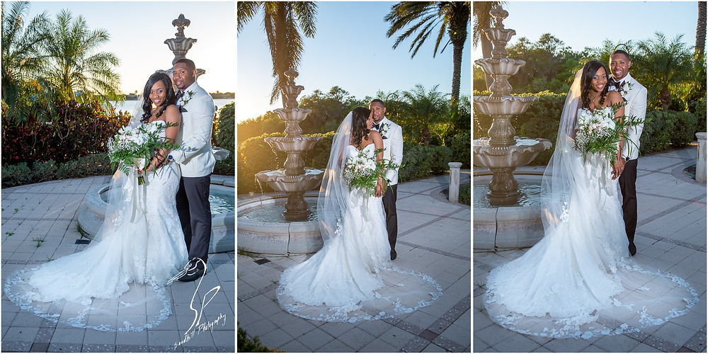 Bradenton Wedding Photographer, portraits of the bride and groom in front of the fountain at the Mirabay Club