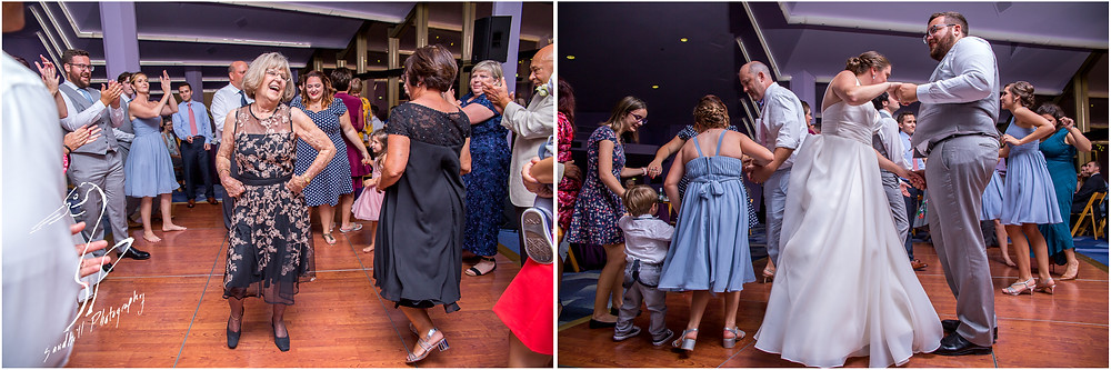 Van Wezel Wedding Photography, bride and groom, and guests dancing at the reception