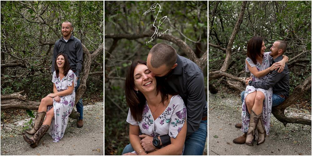 Bradenton Engagement Photographer, a happy couple interact along a path in De Soto National Memorial Park