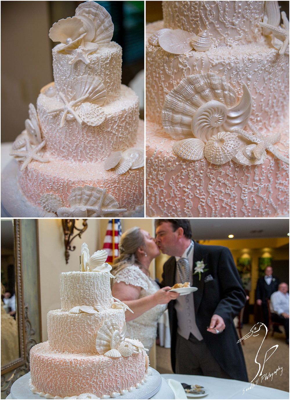 Rainy Day Wedding Photography Sarasota, Beach themed wedding cake and cake cutting with a kiss