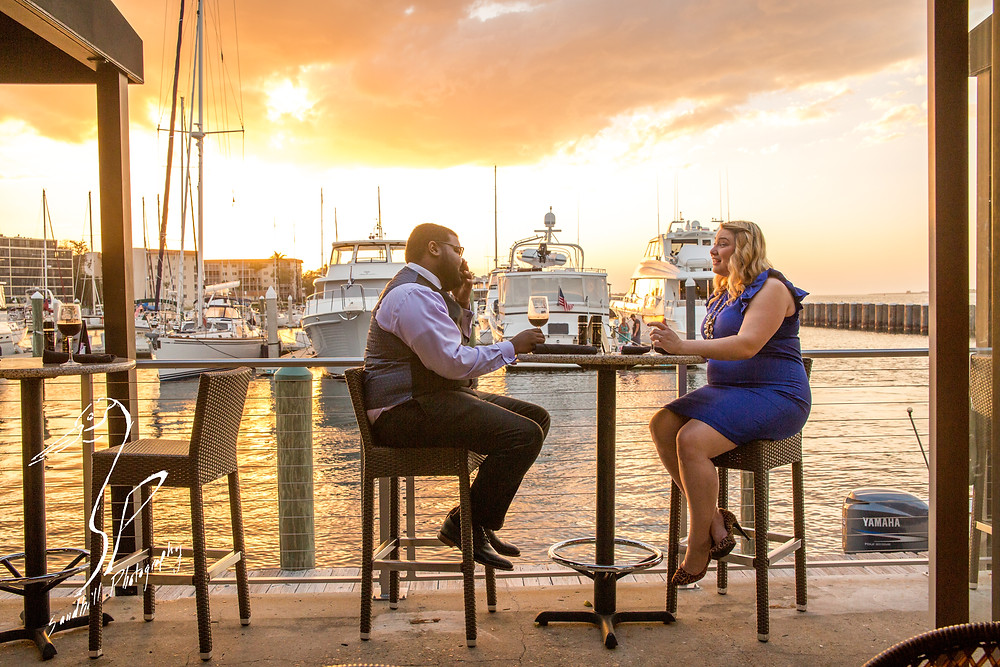 Pier 22 Downtown Bradenton Engagement Photography formal wear Wine Water Sunset Bar Boats