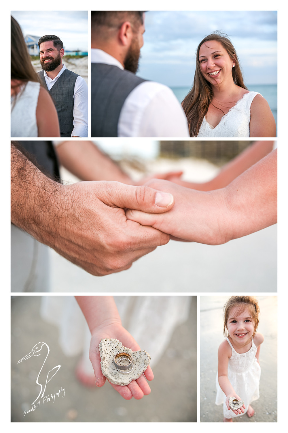 Treasure Island Wedding, Ceremony pictures on the beach, bride and groom holding hands, ring detail shot