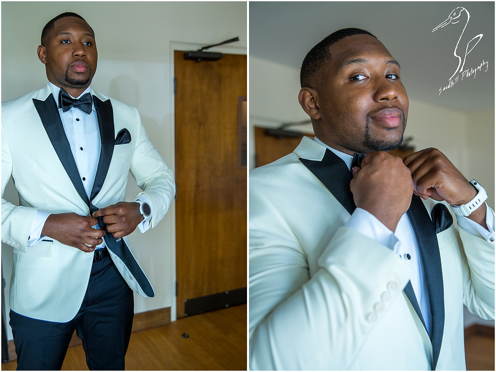Bradenton Wedding Photographer, Groom getting ready and straightening his bow tie and tux jacket before his wedding at United First Methodist Church of Seffner