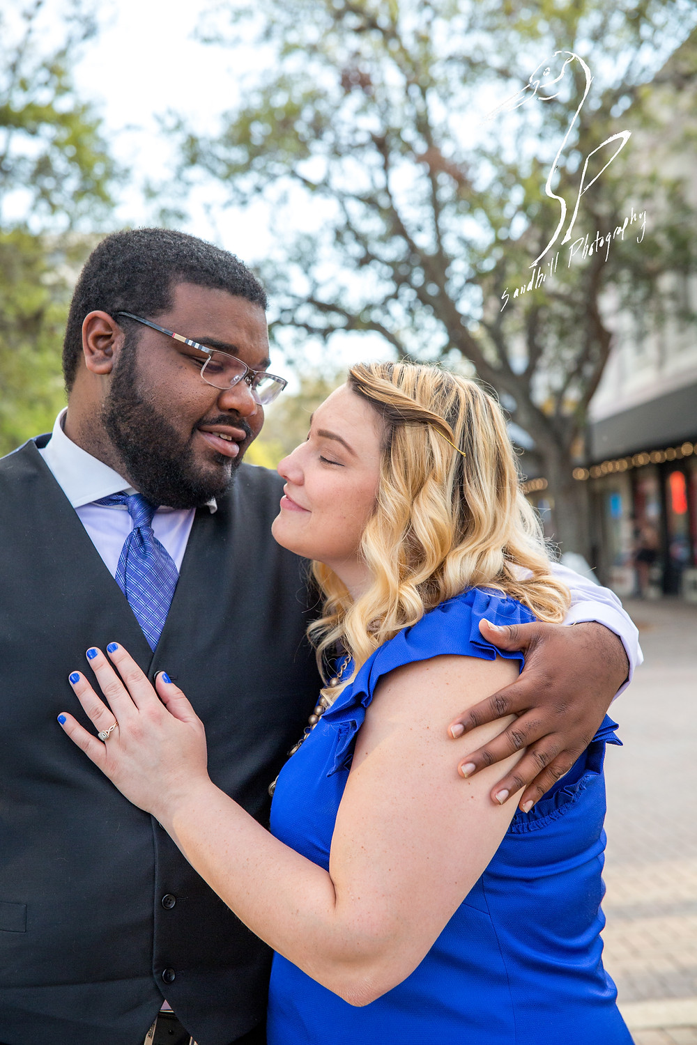 Old Main Street Bradenton Engagement Photography formal wear Down Town
