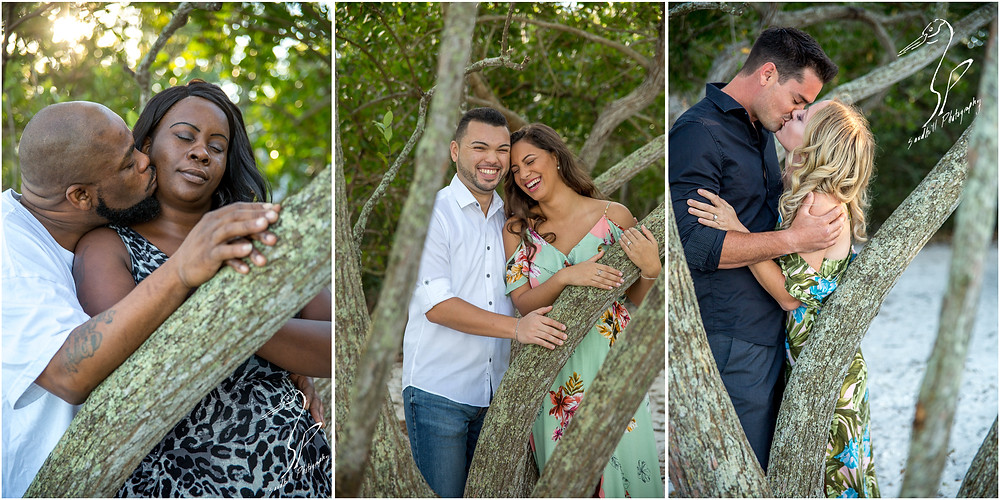 DeSoto National Memorial Photography, 3 couples each embrace in the trees on the riverbank.