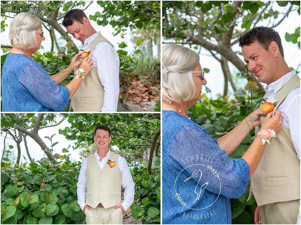 Anna Maria Island Wedding Photographer groom getting ready at The Sandbar Restaurant