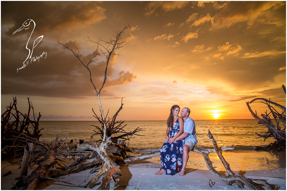 Beer Can Island Engagement Photography, couple sits on drift wood on the beach as the sun sets on Longboat Key