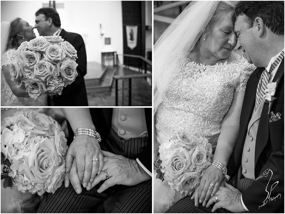 Rainy Day Wedding Photography Sarasota, Wedding Portraits of the bride and groom with details of hands and flowers, black and white, Sandhill Photography