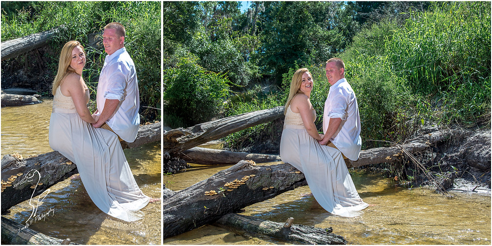 Rye Preserve Engagement Photography, couple sitting on a long over a creek