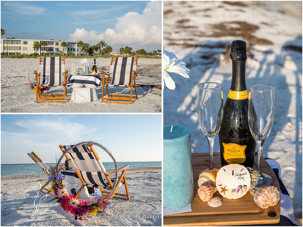 Longboat Key Surprise Proposal detail pictures of chairs and champagne on the beach
