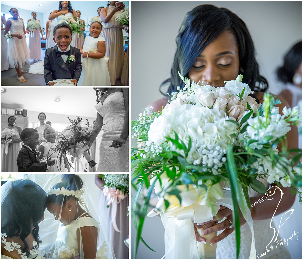 Bradenton Wedding Photographer, Detail of the bride smelling her bouquet, pictures of he ring barer and flower girl at United First Methodist Church of Seffner