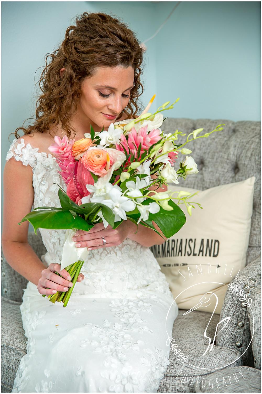 Anna Maria Island Wedding Photographer bride getting ready at the Sandbar Restaurant
