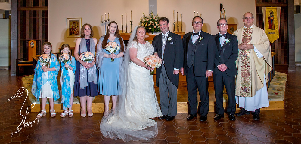 Rainy Day Wedding Photography Sarasota, Bridal Party at the alter at St. Boniface Episcopal Church, Siesta Key