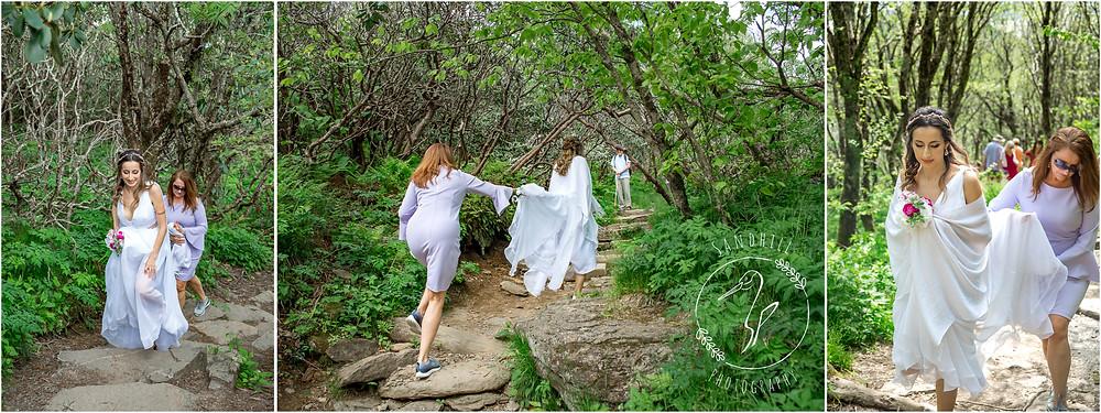 Destination Wedding Photographer, bride hiking up Craggy Gardens, image by Sandhill Photography, Bradenton FL