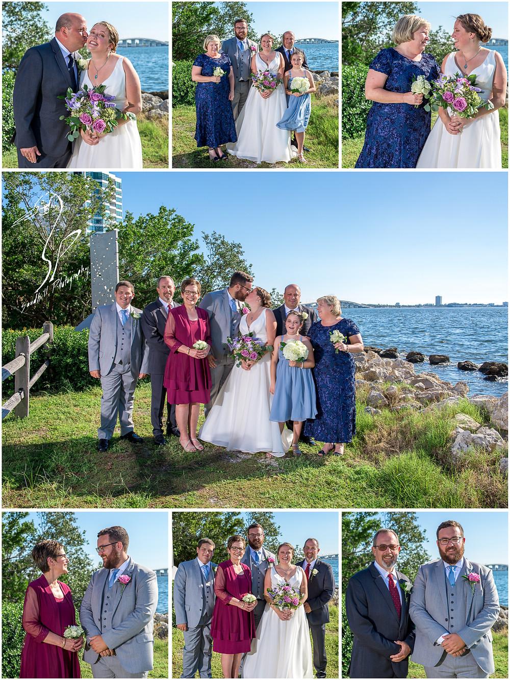 Van Wezel Wedding Photography, Family Pictures on Sarasota bay with Ringling Bridge behind
